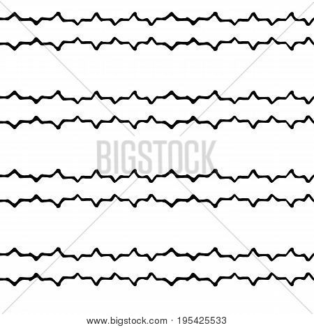 Hand-drawn doodle seamless pattern in black and white. Hand-drawn scribbles pattern. Zigzag and dots scribbled ornament. Minimal background decor tile. Black ink zigzag on white. Wrapping paper
