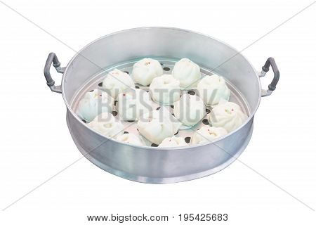 Chinese dumpling in stainless steamer boxisolated on white background with clipping path.