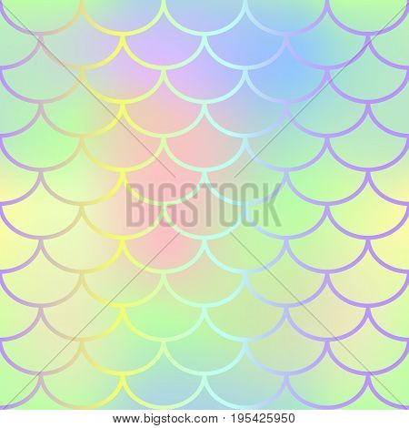 Rainbow fish scale pattern vector texture. Mermaid seamless pattern tile. Fish skin background. Marine animal skin seamless pattern. Colorful mermaid tail. Fishscale with green yellow gradient mesh