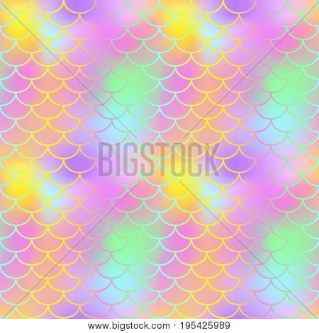 Fantastic fish skin seamless vector pattern. Golden pink green fishscale swatch texture background. Pale yellow pink gradient mesh. Mermaid pattern or decor element. Fish skin or Mermaid tail surface