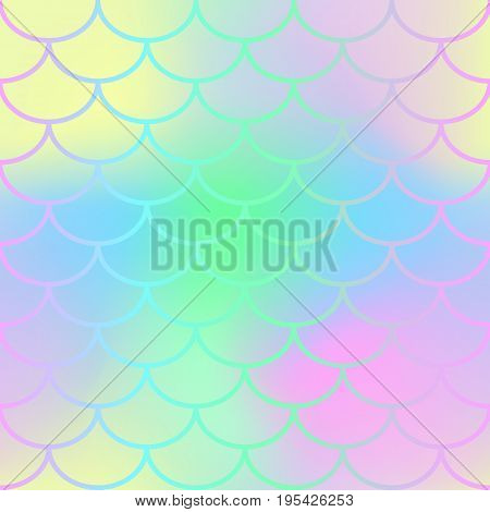 Mermaid fish tail texture. Fish scale seamless pattern. Mermaid vector background for beach party or summer wedding design. Romantic pink blue gradient mesh with fish scale ornament. Summer backdrop