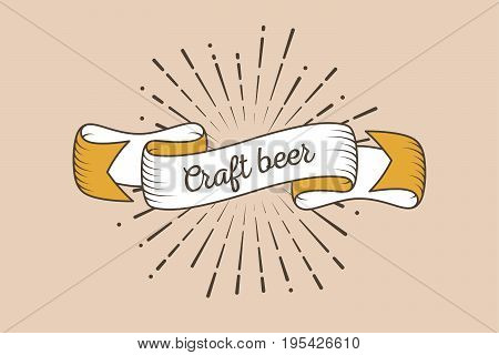 Trendy retro ribbon with text Craft beer and light rays sunburst. Colorful banner with ribbon for design game web. Vector Illustration