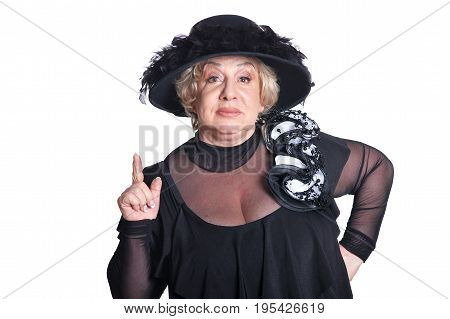 Senior woman in blouse with thumb up isolate on white