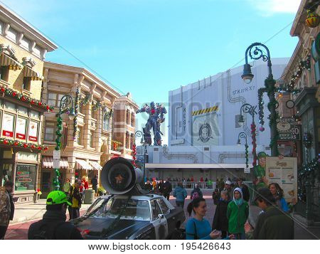 Orlando, USA - January 03, 2014: Game pavilions in the park. Universal Studios is one of Orlando's famous theme parks. Universal in Orlando, Florida on January 03, 2014