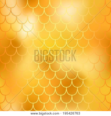 Fantastic golden fish skin seamless pattern. Yellow gold mermaid vector background. Golden mermaid tail seamless pattern. Mermaid tail scale backdrop. Shiny animal skin pattern swatch with gradient