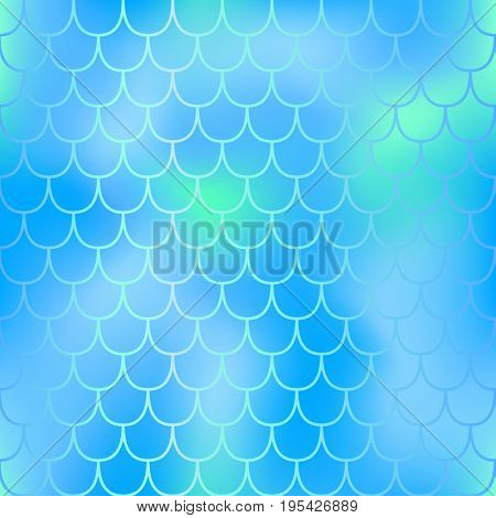 Fantastic turquoise blue fish skin pattern. Aqua blue mermaid vector background. Magic mermaid tail seamless pattern. Mermaid tail scale backdrop. Shiny animal skin pattern swatch. Blue mint fishscale