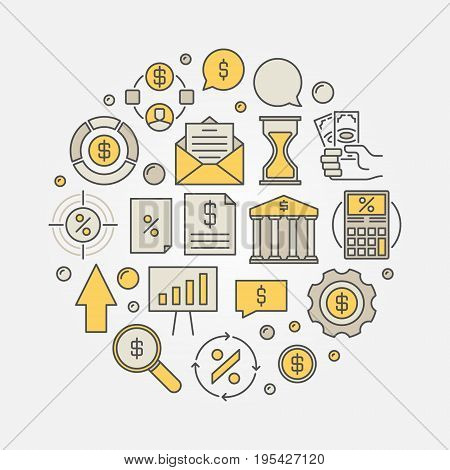 Finance round colorful illustration. Vector loan or mortgage business concept circular symbol