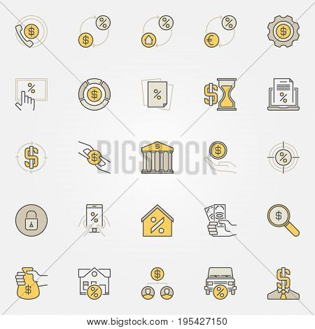Money and leasing colorful icons. Vector banking and loan creative signs or design elements