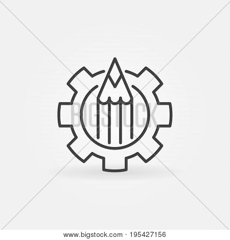 Pencil in gear icon - vector minimal blogging or copywriting concept symbol or design element in thin line style