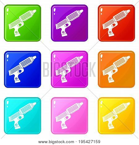 Plastic gun toy icons of 9 color set isolated vector illustration
