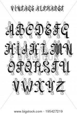 Retro decorative font. Capital letters. EPS10 vector.