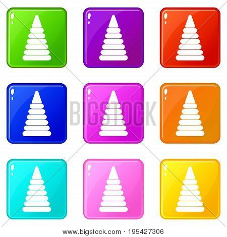 Pyramid built from plastic rings icons of 9 color set isolated vector illustration
