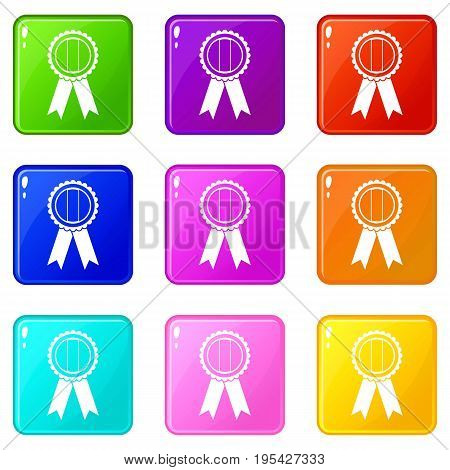 Rosette icons of 9 color set isolated vector illustration