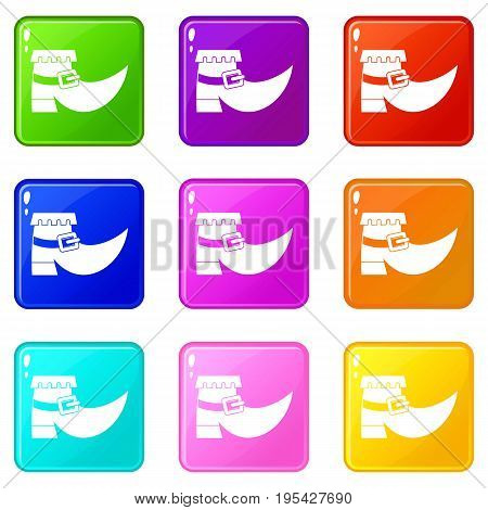 Boot with buckle icons of 9 color set isolated vector illustration