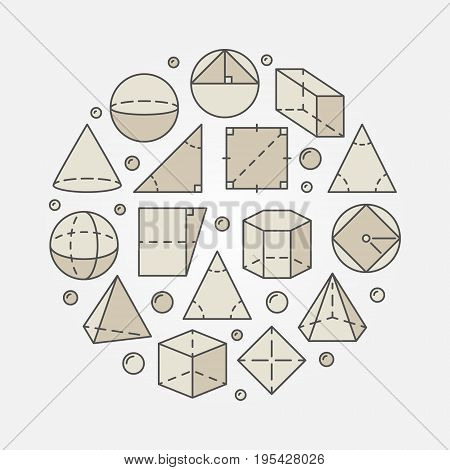 Colorful geometry and mathematics illustration - vector concept round math symbol made with geometric shapes