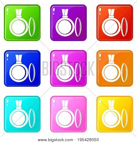 Medallion icons of 9 color set isolated vector illustration