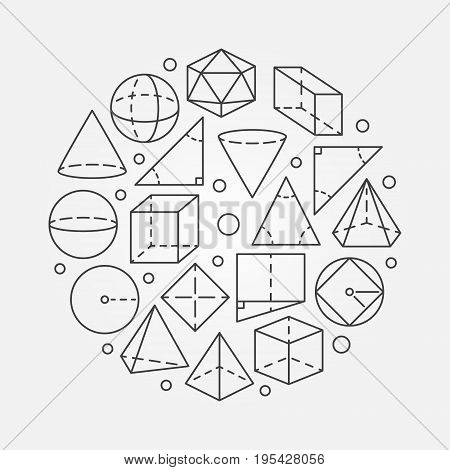 Geometry mathematics illustration. Vector concept round math symbol made with outline geometric shapes