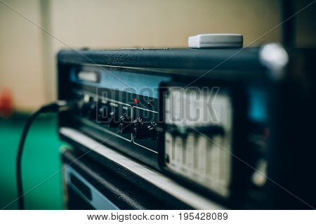 Sound amplifier in recording music studio. Live music. Musician equipment