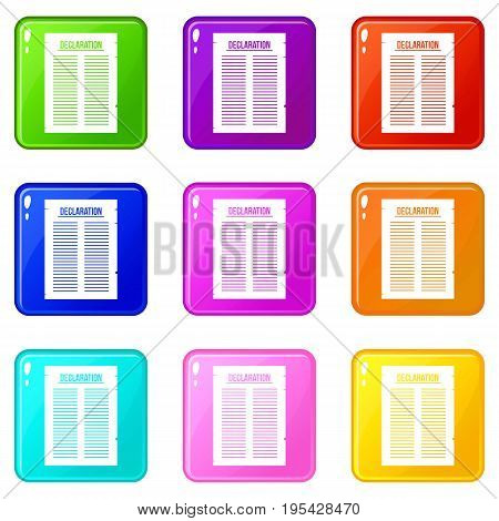 Declaration of independence icons of 9 color set isolated vector illustration