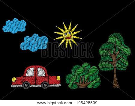 Tree and bush with red car and sun embroidery stitches imitation. Fashion embroidery patch transport on black background. Embroidery tree and bush with car vector.