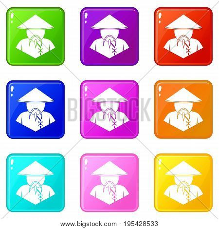 Asian man in conical hat icons of 9 color set isolated vector illustration