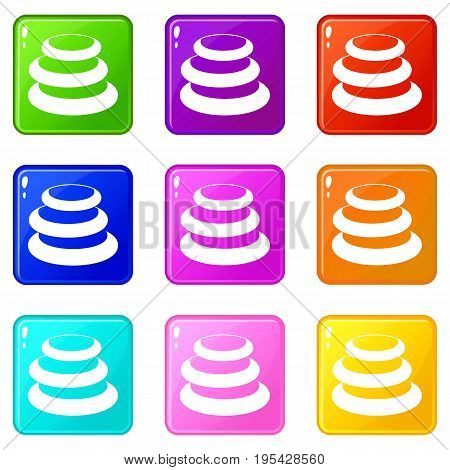 Stack of basalt balancing stones icons of 9 color set isolated vector illustration