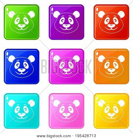 Panda icons of 9 color set isolated vector illustration