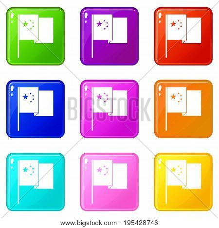 China flag icons of 9 color set isolated vector illustration