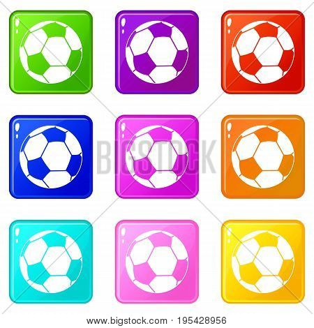 Football ball icons of 9 color set isolated vector illustration