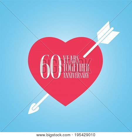 60 years anniversary of wedding or marriage vector icon illustration. Template design element with heart and arrow for celebration of 60th wedding