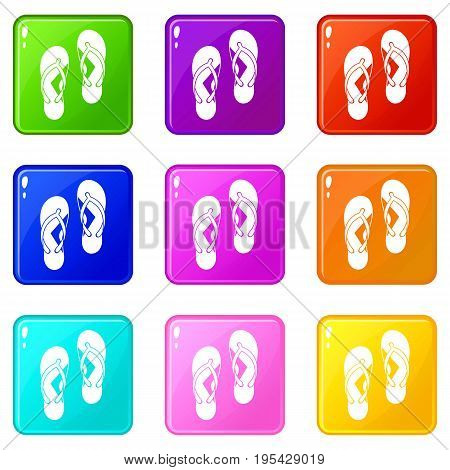 Flip flop sandals icons of 9 color set isolated vector illustration