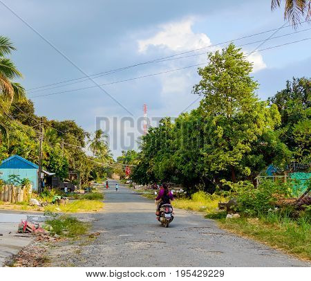 Street In Sihanoukville, Cambodia.