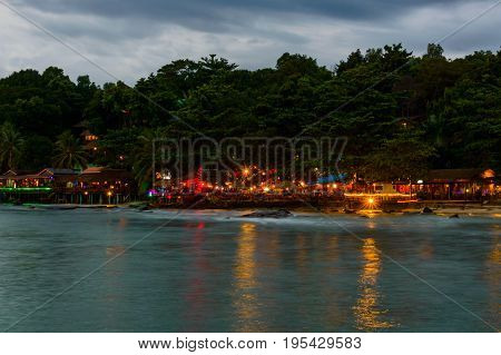 Colorful Light Of Restaurants On The Beach In Sihanoukville