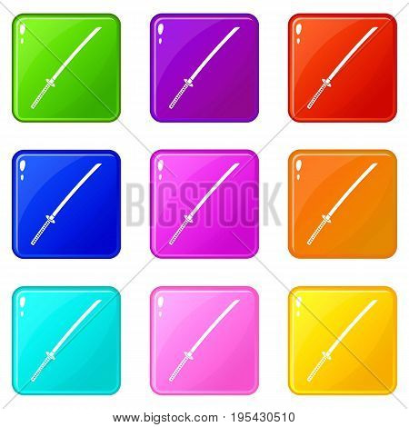 Japanese katana icons of 9 color set isolated vector illustration