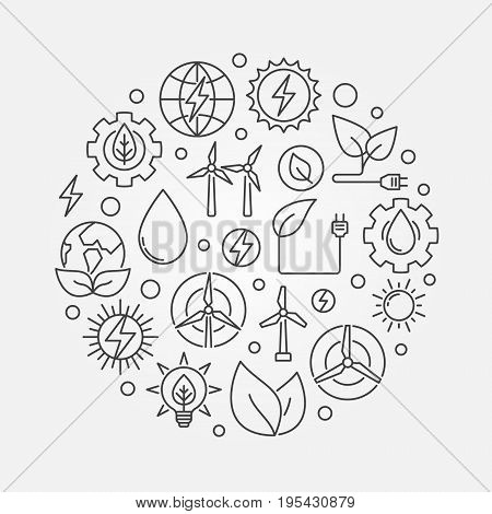 Alternative Energy circular illustration. Vector round concept symbol made with solar, bio, wind and water power linear icons