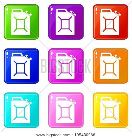 Fuel jerrycan icons of 9 color set isolated vector illustration