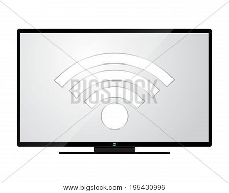 Tv set controlled with wifi. Remote control app. Modern design, vector illustration.