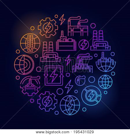 Geothermal renewable energy colorful illustration - vector round energy and power sign in thin line style on dark background