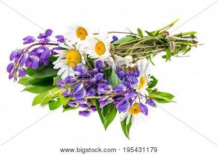 Bouquet of wildflowers on white background. Studio Photo