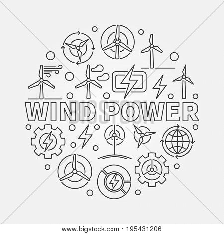 Wind power outline illustration. Vector round green energy concept symbol made with thin line wind turbine icons