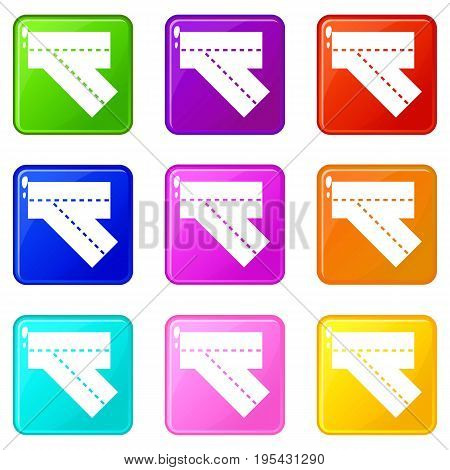 Turn road icons of 9 color set isolated vector illustration