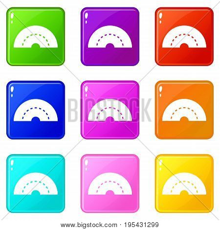 Round turning road icons of 9 color set isolated vector illustration