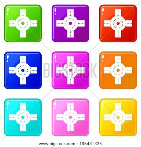 Big road junction icons of 9 color set isolated vector illustration
