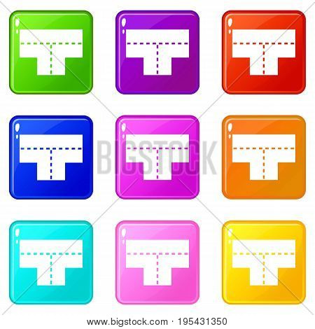 Tshaped crossroad icons of 9 color set isolated vector illustration