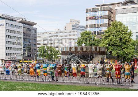 BERLIN GERMANY - JULY 3 2017: United Buddy Bears At Wittenbergplatz Square In Berlin