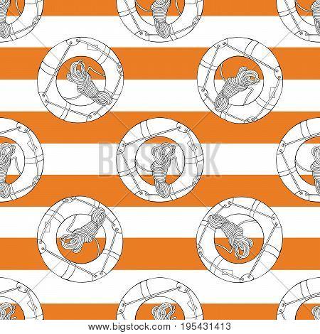 Lifebuoy hand drawn pattern on the orange strips. Seamless