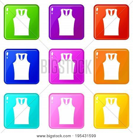 Sleeveless shirt icons of 9 color set isolated vector illustration