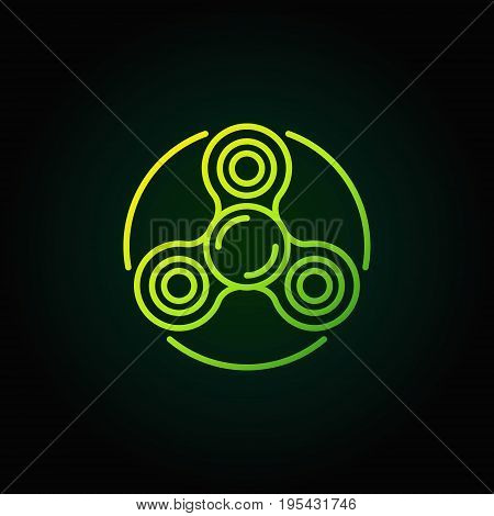 Spinner green line icon. Vector hand spinner toy outline colorful sign or logo element on dark background