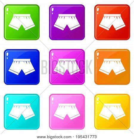 Male underwear icons of 9 color set isolated vector illustration