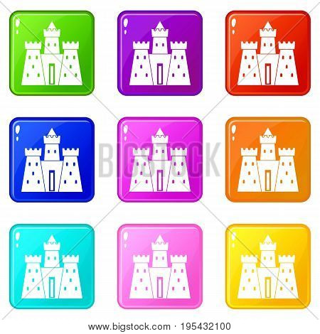 Ancient castle palace icons of 9 color set isolated vector illustration
